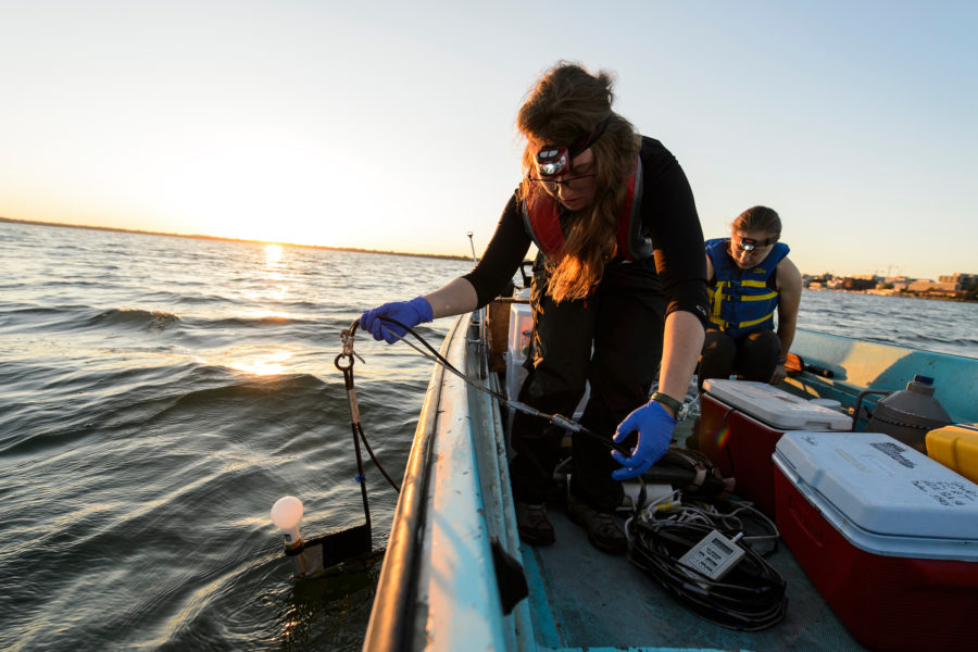 UW-Madison graduate students doing research on a boat on Lake Mendota